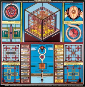 paul Laffoley painting the Orgone Motor